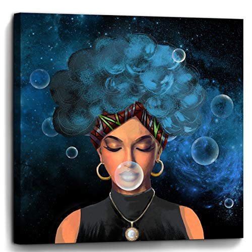Bedroom Wall Decor African American Woman Print Picture Paintings Framed Wall Art for Bathroom Kitchen Office Modern Popular Room Decorations Artwork Woman With Blue Hair Size 14x14 inch Ready to Hang