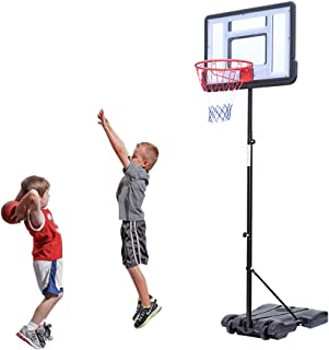 BELUPAI Portable Basketball Stand, PVC Transparent Backboard Hoop Basketball System with Adjustable-Height Pole