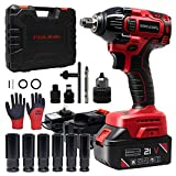 Toolman Rechargeable Cordless Lithium-ion Power Impact Wrench Driver kit 1/2' 21V ZTP010B