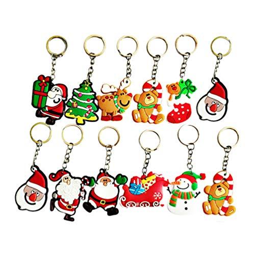 Toyvian, portachiavi a forma di Babbo Natale, 24 pezzi, morbido e carino, portachiavi con ciondolo a forma di Babbo Natale