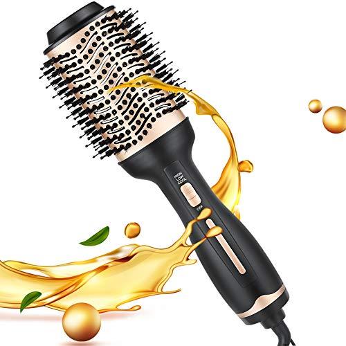 Hot Air Brush, Hair Dryer Brush, Hair Dryer & Volumizer Hair Air Styler Brush, Multifunctional Blow Dryer Brush (Golden)