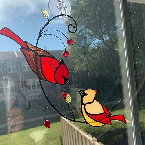 CMOM Par de adornos de cristal con diseño de pájaro cardenal – Decoración para colgar en la ventana – Personalidad, diversión, día de San Valentín, colgante de hierro para decoración del hogar y