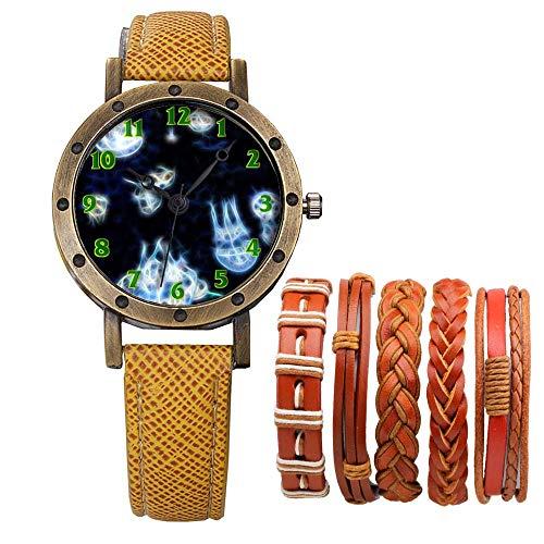 Meisjes Merk Retro Brons Vintage Lederen Band Dames Meisje Quartz Horloge Armband 6 Sets Abstract Bloemen 325.Aquarium Dier Wobbling Jellyfish Onderwater