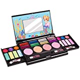 Tomons Makeup Toys Real Kids Makeup Kit for Girl,Fold Out Makeup Palette with Mirror and Secure Close - Safety Tested- Non Toxic