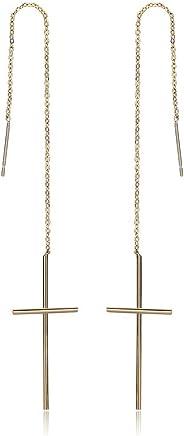 Epinki Gold Plated Earrings, Womens Long Chain Cross Threader Dangle Earrings