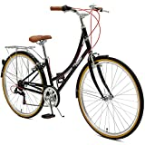 Retrospec Beaumont-7 Seven Speed Lady's Urban City Commuter Bike Black / White 38cm/Small