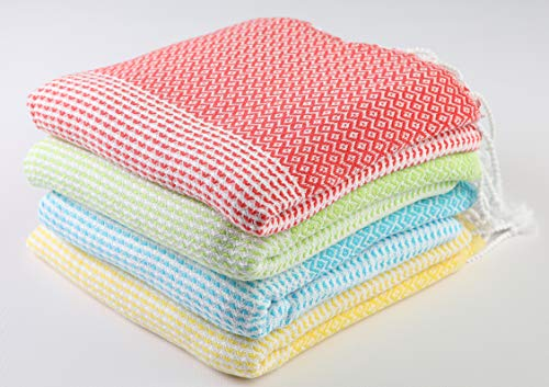 Sualla 100% Cotton - Aegean Turkish Towel - (Pistachio Green, Yellow, Turquoise, Coral) (Set of 4)