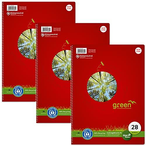 Staufen Cuaderno Green Collegeblock – DIN A4, lineado 28 (cuadrícula con líneas de margen), 160 hojas, 4 agujeros, papel reciclado blanco de 70 g/m², 3 unidades