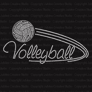 Volleyball Iron On Rhinestone Crystal T-Shirt Transfer by JCS Rhinestones