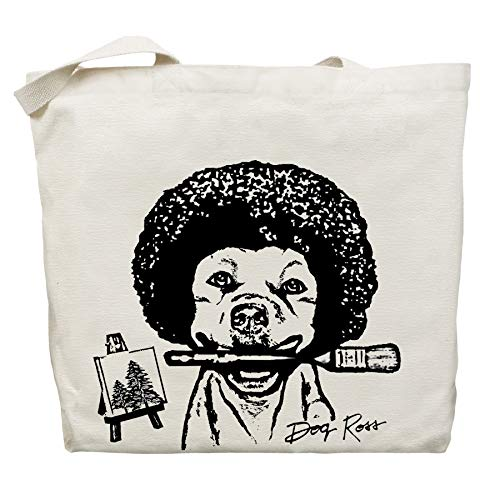 Dog Ross and His Happy Little Trees Tote Bag - by Pet Studio Art