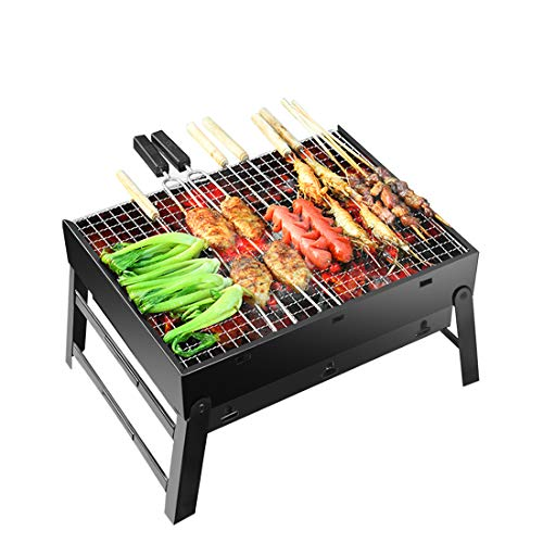 Barbecue Grill Portable Foldable Charcoal Stainless Steel Smoker BBQ Grills for Outdoor Garden Cooking Camping Hiking Picnic 43x29x23cm