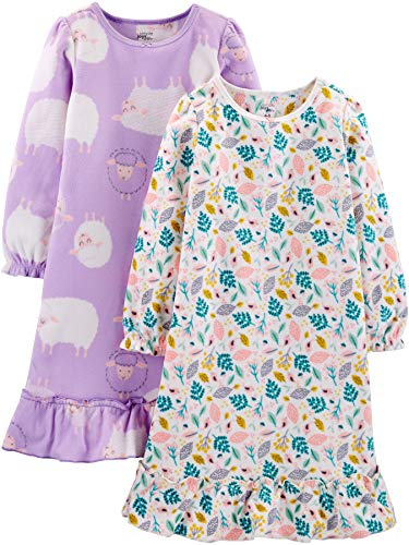 Simple Joys by Carter's 2-pack Fleece Sleep Gowns Nightgown, Sheep/Floral, 8/10