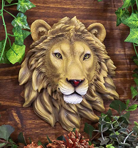 Ebros Simba Safari King Of The Jungle Leon Head Placa decorativa para pared de 22,8 cm de alto Taxidermy Art Escultura Alpha Pride Lions para colgar en el pecho
