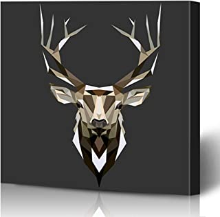 Ahawoso Canvas Prints Wall Art Printing 16x12 Stag Deer Low Poly Abstract Animals Wildlife Stylized Geometric Head Origami Polygon Silhouette Painting Artwork Home Living Room Office Bedroom Dorm