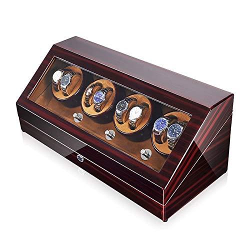 Oksmsa Madera Reloj Cuerda automática Box, 5 Giratorio y Japón Motor, cupo la mayoría del Reloj mecánico rotación y for 8 + 12 Cajas de almacenaje del Reloj (Color : Brown)