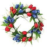 UUHUKP Corona de tulipán artificial, corona de tulipán rojo, blanco y azul, corona de tulipán de seda floral, tulipanes y hojas artificiales vibrantes para puerta delantera, boda, decoración del hogar