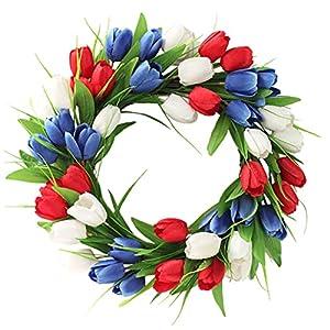 BHSHUXI Artificial Tulip Wreath,Artificial Tulip Flower Front Door Wreath,Silk Flower Spring Summer Garland Wreath for Home Decoration