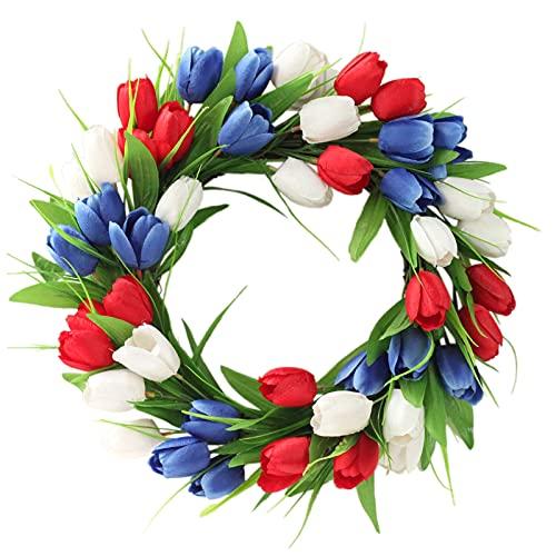 ZHIPANG Corona de tulipán artificial, 15.7 pulgadas de puerta de seda con hojas, corona de primavera hecha a mano para puerta delantera, ventana, fiestas, festivales, decoración del hogar