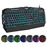 7 cool colors led backlit for you choose. Free to change the light colors, brightness, breathing mode and breathing speed. Professional mechanical feeling for gaming pc and office computer, not the real mechanical keyboard, but it well worth. Ergonom...