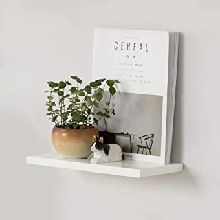 """INMAN HOME Floating Shelf, White Rustic Solid Wood Wall Mounted Shelf Decorative Hanging Display Storage Picture Ledge Shelf (4"""" width, 12inch)"""