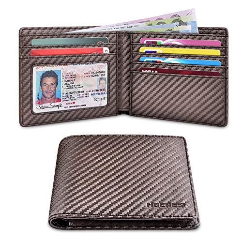 HOCRES Geldbörse Herren RFID Blocking Leather Slim Wallet mit 7 Kreditkarteninhabern, 2 Banknotenfächern, ID-Fenster Minimalist Wallet für Männer mit Geschenkbox