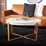 Safavieh Home Collection Navya White Washed/Gold Round Coffee Table COF6207A