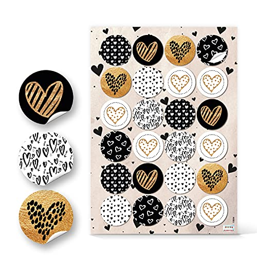Logbuch-Verlag 24 edle Herzaufkleber gold schwarz weiß - Herz Sticker rund selbstklebend 4 cm - Bastelzubehör Verzierung Geschenkverpackung