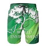 Pantalones cortos de playa para hombre, diseño del Día Mundial del Medio Ambiente, verano, traje de baño de secado rápido, divertido 3D impreso ropa de playa con cordón
