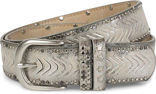 styleBREAKER studsgordel met uitgesneden patroon met studs, strass en sternagels, vintage riem, inkortbaar, dames 03010081