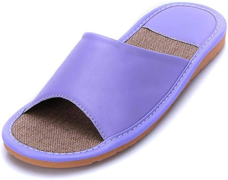Lady Slippers Ladies Leather Home Interior Leisure Slippers Purple Medium Personality Creativity Leisure Elegant Soft Wild Tight Super Quality
