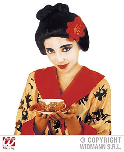 Pruik Geisha met bloem in doos voor haaraccessoires carnaval