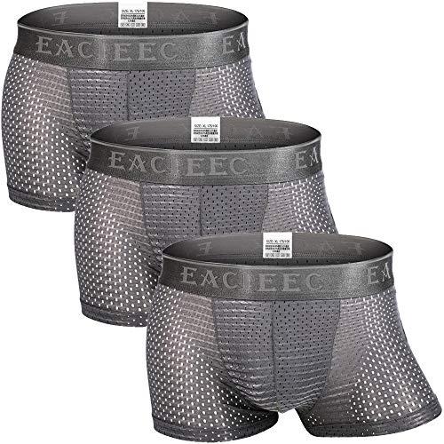 Zueauns Herren Boxershorts Eisseide Mesh Unterwäsche Seamless Retroshorts Atmungsaktive Unterhosen 3-5er Pack
