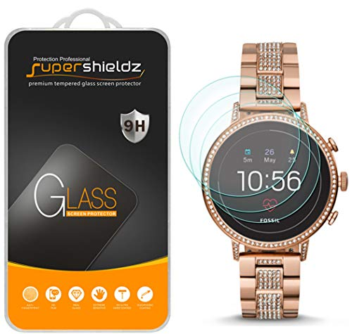 (3 Pack) Supershieldz Designed for Fossil Q Venture HR Gen 4 Smartwatch Tempered Glass Screen Protector, Anti Scratch, Bubble Free