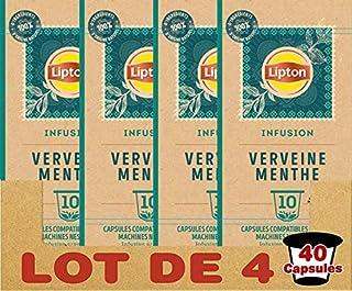 Lipton Infusion Verveine Menthe 40 Capsules Compatibles Nespresso, Anti-stress, Parfum Savoureux de Menthe, Label Rainfore...