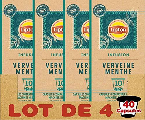 Lipton Infusion Verbena Menta Fresca Capsule Compatibili Nespresso (Set di 4 X 10 Capsule)