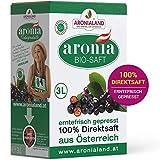 Aronialand Bio Aronia Direktsaft 3l extra hochkonzentriert | Erntefrischer Aroniasaft frei von Zucker und künstlichen Zusatzstoffen | 100% Direktsaft, enthält viele Vitamine, Eisen und Folsäure