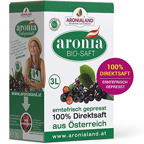 Aronialand Bio Aronia Direktsaft 3l extra hochkonzentriert | Erntefrischer Aroniasaft frei von Zucker und künstlichen Zusatzstoffen | 100{c030edc4a08836c31217ea5304bd484336bf0e195f838a1c819927e093cbece7} Direktsaft, enthält viele Vitamine, Eisen und Folsäure
