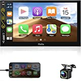 Double Din Car Stereo with Bluetooth Support Car Play/Android Auto/BT/USB/AUX/AM/FM apple car player double din Touch Screen 7 Inch Car Audio Receiver Car MP5 Player Car Radio with Rear View Camera