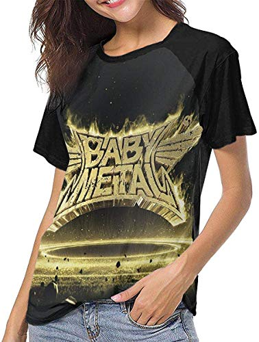 Damen Kurzarm Babymetal Metal Resistance Frauen Baseball T-Shirt Kurzarm T-Shirts mit rundem Hals