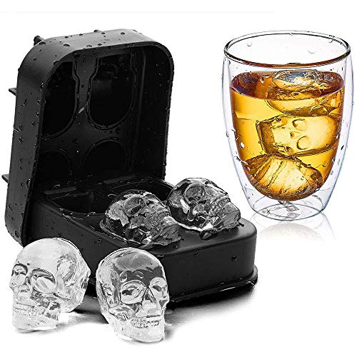 3D Skull Flexible Silicone Tray, Makes Four Skulls for Whiskey Cocktail Beverages Cake Halloween and Christmas (4.45″ x 3.15″ x 1.57″, Black Skull Mold)