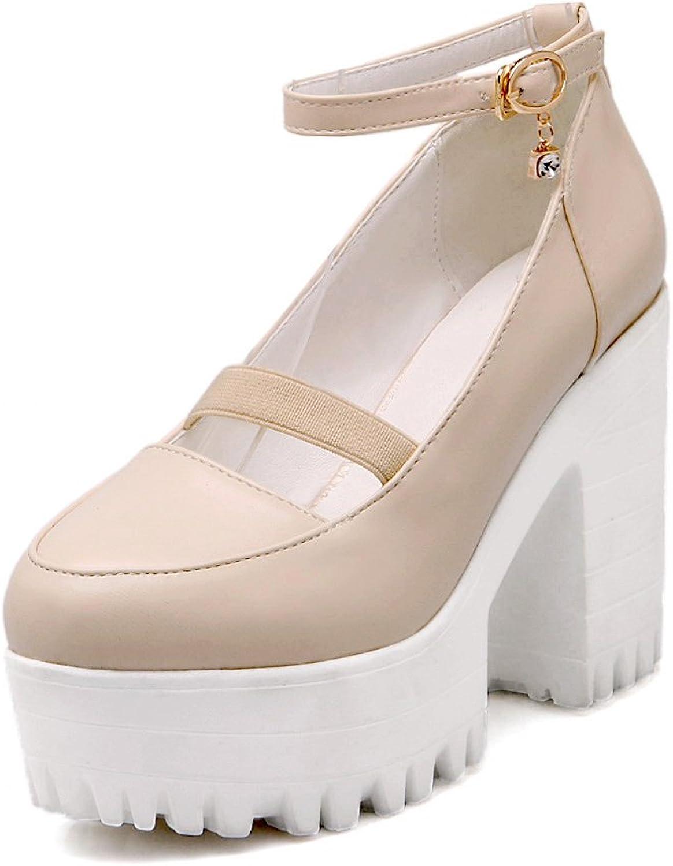 AIWEIYi Women's Fashion Chunky Heel Ankle Strap Platform shoes Black