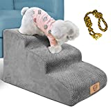 Topmart 3 Tiers Foam Dog Ramps/Steps,Non-Slip Dog Steps,Extra Wide Deep Dog Stairs,High Density Foam Pet Stairs/Ladder,Best for Older Dogs,Cats,Small Pets,with Dog Rope Toy,Grey