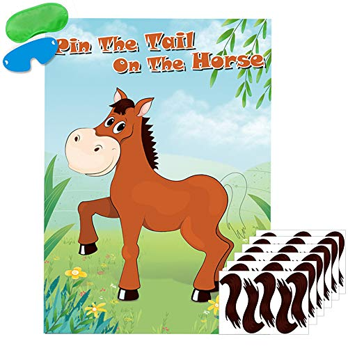 Pin The Tail On The Horse Game Large Horse Poster Games for Kids Birthday Party Decorations Horse Party Games Supplies - 30 Tails