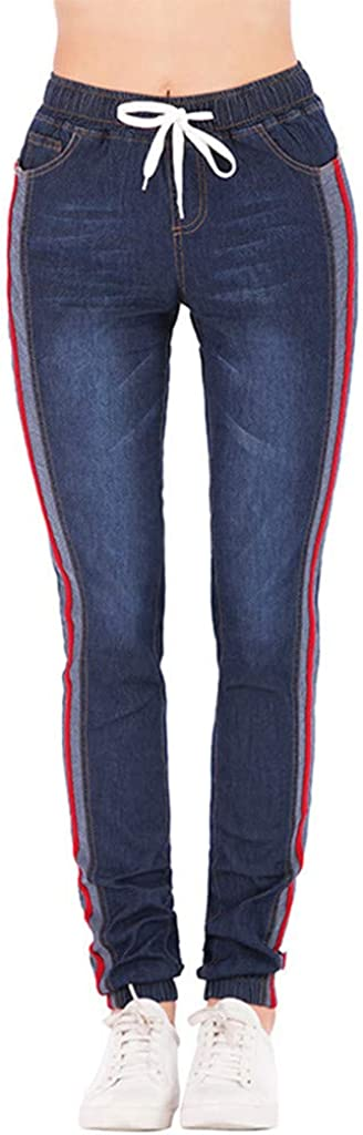 Women's Casual Elastic Waist Drawstring Plus Loose Denim Pants Pockets Cropped Jeans Ankle-Length Pants