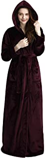 Womens Long Hooded Bathrobe Fleece Full Length Bathrobe with Hood Winter Sleepwear