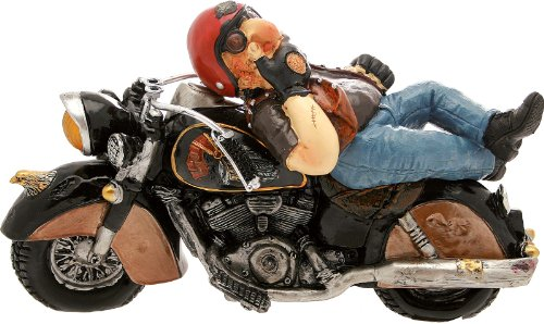 Motocycliste avec moto noire, 32 x 19 cm.