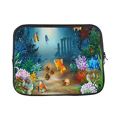 INTERESTPRINT Laptop Sleeve Case Cover Underwater World of Fish and Plants Notebook Computer Pouch Bag 14 Inch 14.1 Inch