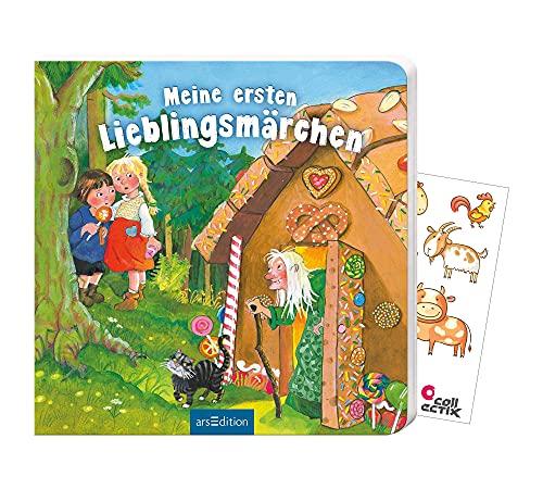 Buchspielbox Mi primer cuentos favoritos (libro de cartón) + pegatinas de animales, libro infantil a partir de 2 años.