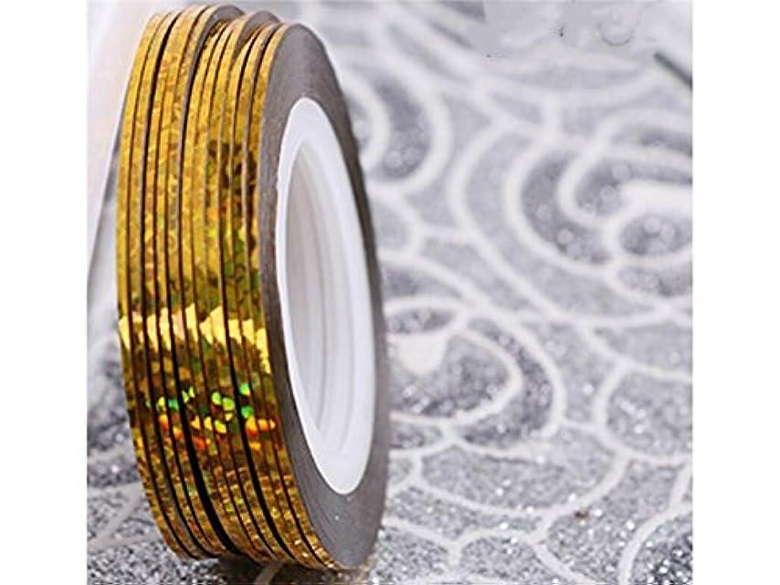 設計図小人経験Osize ネイルアートキラキラゴールドシルバーストリップラインリボンストライプ装飾ツールネイルステッカーストライピングテープラインネイルアートデコレーション(ゴールデン)