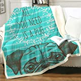 Famitile Pug Kids Sherpa Fleece Throw Blanket, Cute Cartoon Pug Plush Throw Blanket Super Soft Warm Bed Sofa Chair Throw for Kids and Adults (Pug-3, 47' x 60')